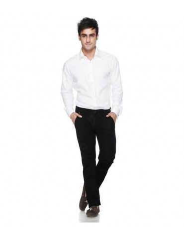 Siyaram's White Shirt & Siyaram's Black Pant Poly Blend Suitings and Shirtings